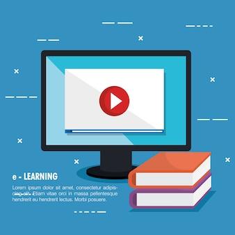 Educación electrónica con computadora de escritorio