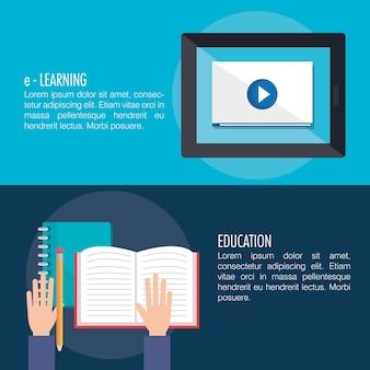 Educación electrónica con diseño de ilustración vectorial tableta