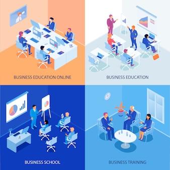Educación empresarial isométrica