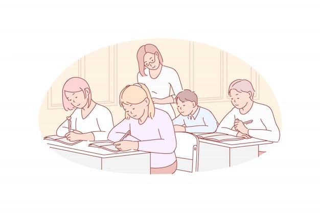 Educación, enseñanza, ilustración escolar.