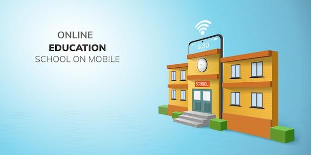 Educación escolar digital en línea por teléfono.