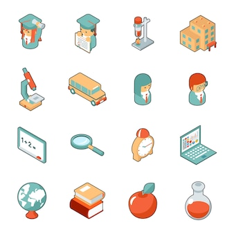 Educación y escuela iconos 3d isométricos. ciencia y universidad, colegio y graduación. ilustración vectorial