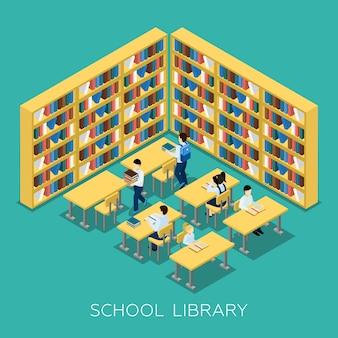 Educación escuela intermedia biblioteca isométrica banner