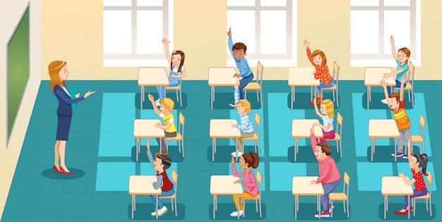 Educación, escuela primaria, aprendizaje y personas, niños de grupos escolares con maestros sentados en el aula y levantando las manos