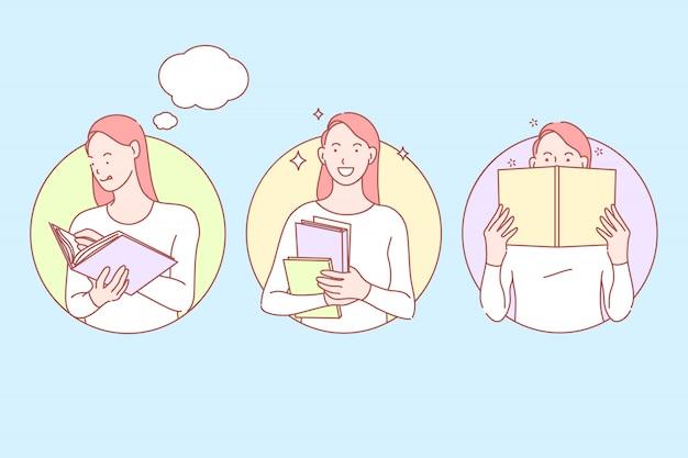 Educación, estudio, ilustración de conjunto de conocimientos