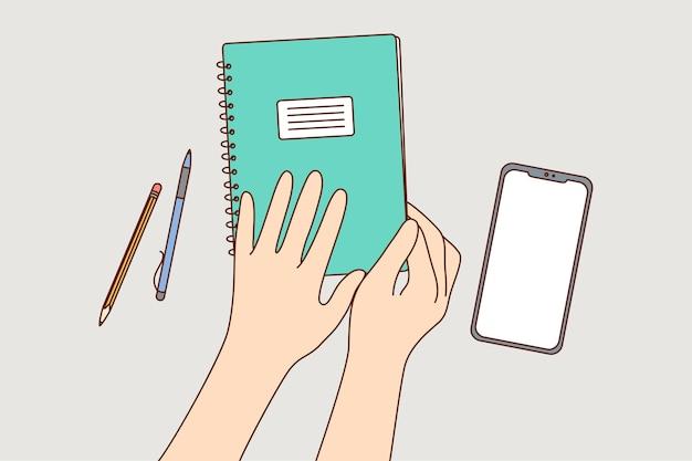 Educación, estudio, lección, concepto de aprendizaje.