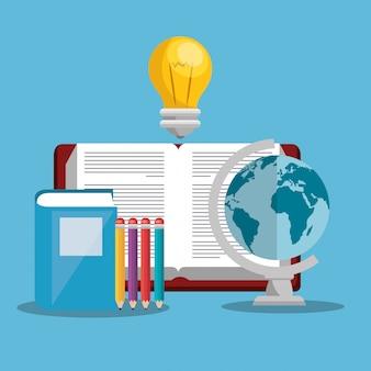 Educación fácil aprendizaje set iconos