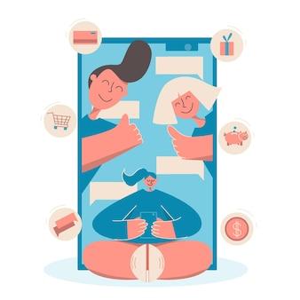 Educación financiera para niños. concepto de banca móvil. control de las finanzas por parte de los padres. ilustración vectorial. tarjeta de pago para niño.