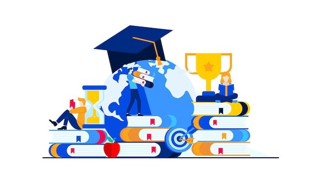 Educación en gestión empresarial con diseño de ilustración plana de mini personas