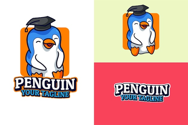 Educación de graduación de pingüino lindo
