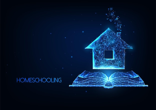 Educación en el hogar futurista, concepto de matrícula en línea de forma remota con casa poligonal baja brillante y libro abierto.