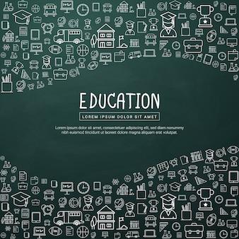 Educación infografía con los iconos de la escuela de contorno.