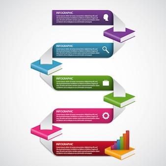 Educación libros paso opción plantilla de diseño de infografías.