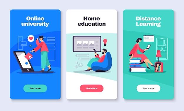 Educación en línea 3 banners web verticales.