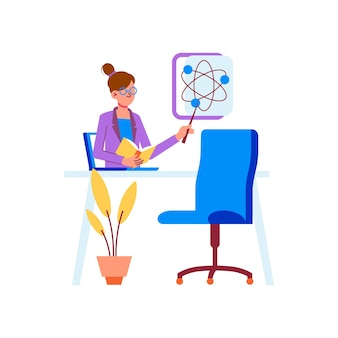 Educación en línea aprendizaje a distancia en el concepto de hogar con escritorio de profesor portátil plano