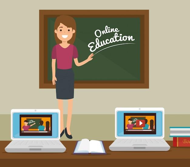 Educación en línea en el aula con computadoras portátiles