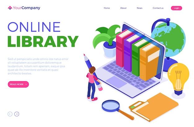 Educación en línea con biblioteca de libros isométrica.