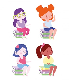 Educación en línea, chicas estudiantes sentadas en una pila de libros, sitio web y cursos de capacitación móvil.