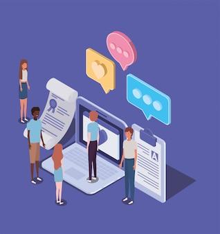 Educación en línea con computadora portátil y mini personas
