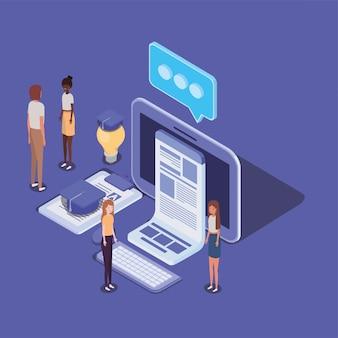 Educación en línea con computadoras de escritorio y mini personas