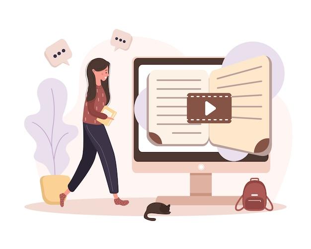 Educación en línea. concepto de formación y video tutoriales. estudiante aprendiendo en casa. ilustración para el banner del sitio web, material de marketing, plantilla de presentación, publicidad en línea.