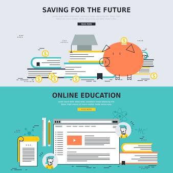 Educación en línea y conceptos de ahorro para el futuro en