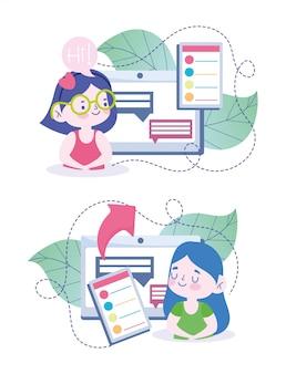 Educación en línea, curso de computadora de tableta para niñas estudiantes, ilustración de cursos de sitio web y capacitación móvil
