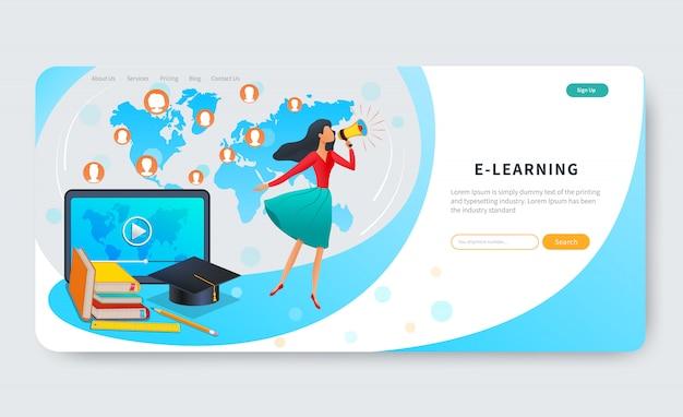 Educación en línea, cursos, banner web de e-learning, mujer con megáfono cerca de tableta con video, educación a distancia