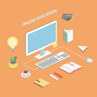 Educación en línea e-learning ciencia concepto isométrico con libro y computadora ilustración vectorial
