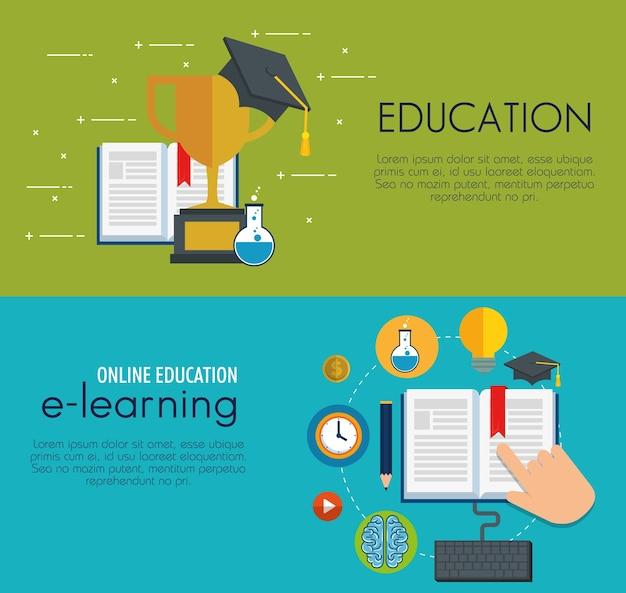 Educación en línea establecer iconos