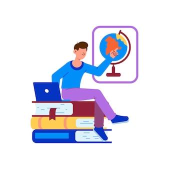 Educación en línea con hombre portátil y libros planos.