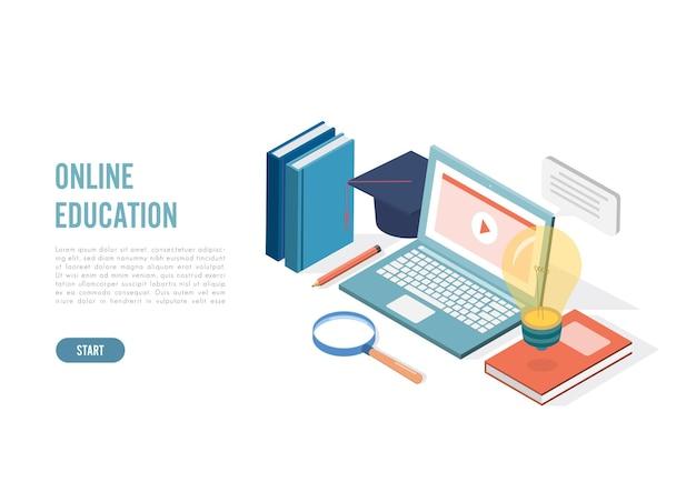 Educación en línea isométrica, e-learning y concepto de cursos para adultos.