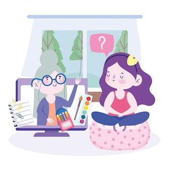 Educación en línea, niña sentada en una silla y maestra en video llamada de computadora