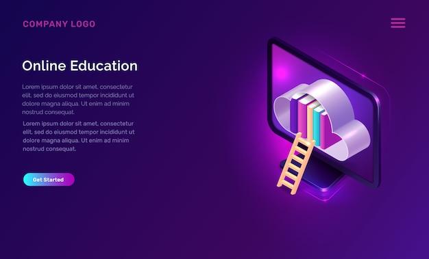 Educación en línea o concepto isométrico de biblioteca