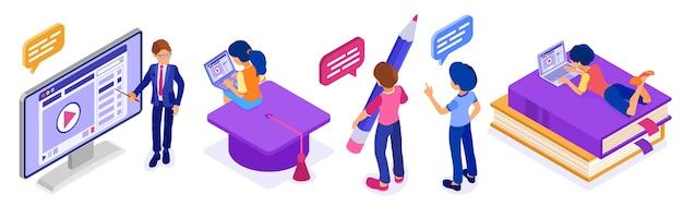 Educación en línea o examen a distancia con carácter isométrico curso de internet e-learning