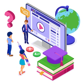 Educación en línea o examen a distancia con curso de internet de carácter isométrico e-learning desde casa, niña y niño estudiando y probando en la computadora con educación isométrica del maestro aislada