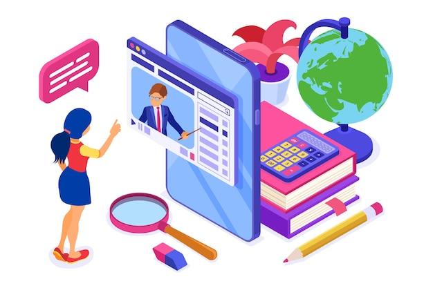 Educación en línea o examen a distancia con curso de internet de carácter isométrico e-learning de la niña en casa que estudia en el teléfono inteligente con educación isométrica del maestro