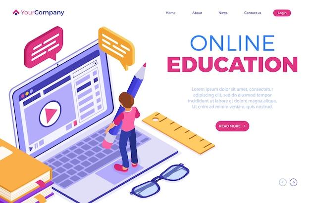 Educación en línea o examen a distancia con curso de internet de carácter isométrico e-learning de un niño hogareño que estudia en línea en una computadora portátil plantilla de página de destino de educación isométrica
