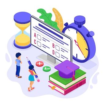 Educación en línea o prueba de examen a distancia con curso de internet de carácter isométrico e-learning desde el hogar niña y niño examinando y probando en computadora con cronómetro educación isométrica