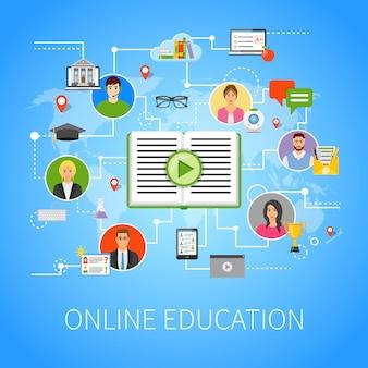 Educación en línea plano infografía página web composición