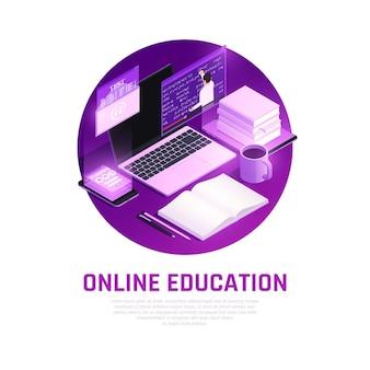 Educación en línea resplandor isométrica con composición redonda de elementos del espacio de trabajo de los estudiantes con descripción de texto editable