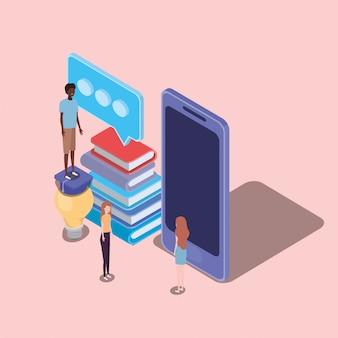 Educación en línea con teléfono inteligente y mini personas