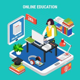 Educación en línea con varios dispositivos electrónicos concepto isométrico 3d ilustración vectorial
