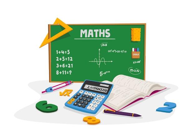 Educación matemática y concepto de lección escolar. libro de texto o cuaderno con escrituras, calculadora, bolígrafo y brújula alrededor de pizarra verde con tareas y fórmulas matemáticas. dibujos animados