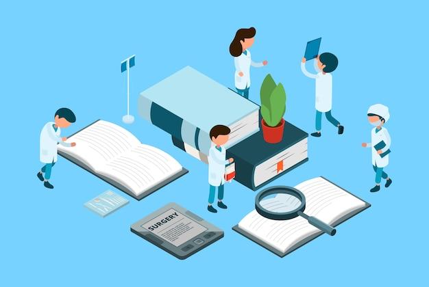 Educación médica. estudiantes médicos, concepto isométrico de cirugía. libros, médicos enfermeras personajes. ilustración educación isométrica médica, atención y tratamiento.
