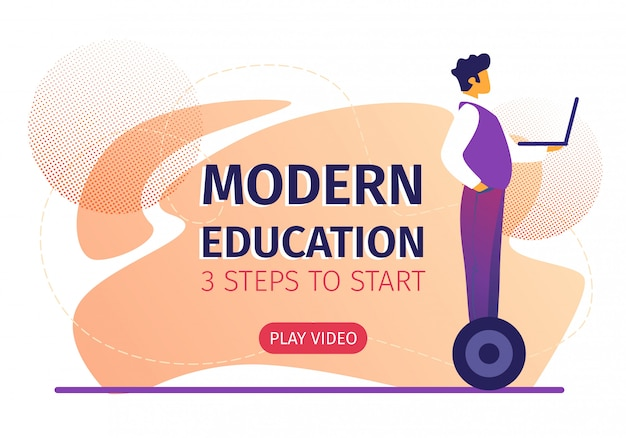 Educación moderna 3 pasos para comenzar banner horizontal.