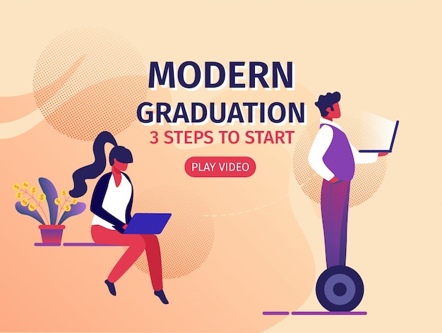 Educación moderna 3 pasos para comenzar banner horizontal