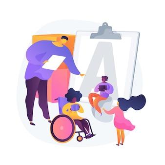 Educación para niños discapacitados. niño discapacitado en silla de ruedas en el jardín de infantes. igualdad de oportunidades, programa preescolar, necesidades especiales. vector gratuito