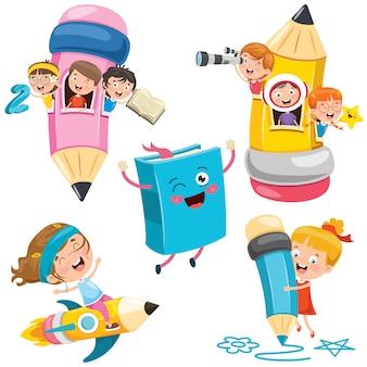 Educación con niños divertidos