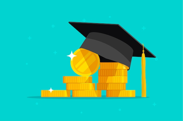 Educación o éxito de graduación y dibujos animados planos de dinero